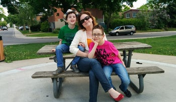 Ilana Dworkin with her children in Montreal, Canada.