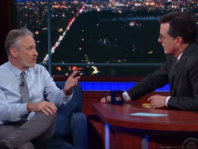 Jon Stewart on 'The Late Show with Stephen Colbert,' says he's sure comedians and Presidents shouldn't be held to the same standards, May 8, 2017