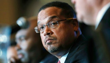 File photo: U.S. Rep. Keith Ellison, D-Minn., listens during a forum on the future of the Democratic Party, in Denver on Dec. 2, 2016.