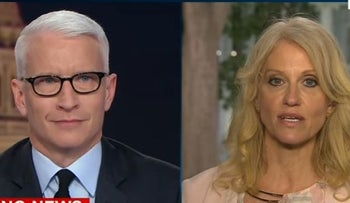 CNN's Anderson Cooper reacts to Kellyanne Conway's defense of President Donald Trump FBI Director James Comey. May 9, 2017.