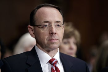 Then-Deputy Attorney General-designate Rod Rosenstein, listens on Capitol Hill in Washington, during his confirmation hearing before the Senate Judiciary Committee, March 7, 2017.