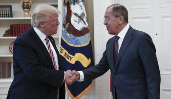 U.S. President Donald Trump with Russian Foreign Minister Sergey Lavrov at the White House in Washington on May 10, 2017.