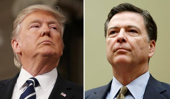FILE PHOTO: A combination photo shows U.S. President Donald Trump (L) in the House of Representatives in Washington, U.S., on February 28, 2017 and FBI Director James Comey in Washington U.S. on July 7, 2016.