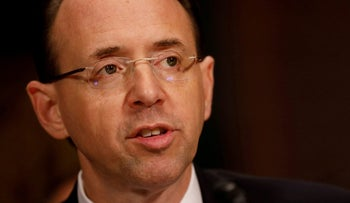 FILE PHOTO: Rod Rosenstein, nominee to be Deputy Attorney General, testifies before the Senate Judiciary Committee on Capitol Hill in  Washington March 7, 2017.