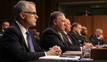 Acting FBI Director Andrew McCabe testifies before the Senate Intelligence Committee, May 11, 2017 in Washington, DC.