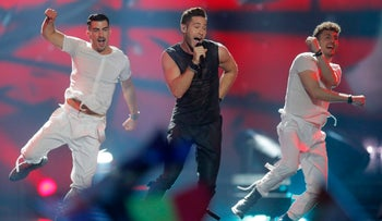 Imri Ziv performs the song 'I Feel Alive' during the final for the Eurovision Song Contest, Kiev, Ukraine, May 13, 2017.