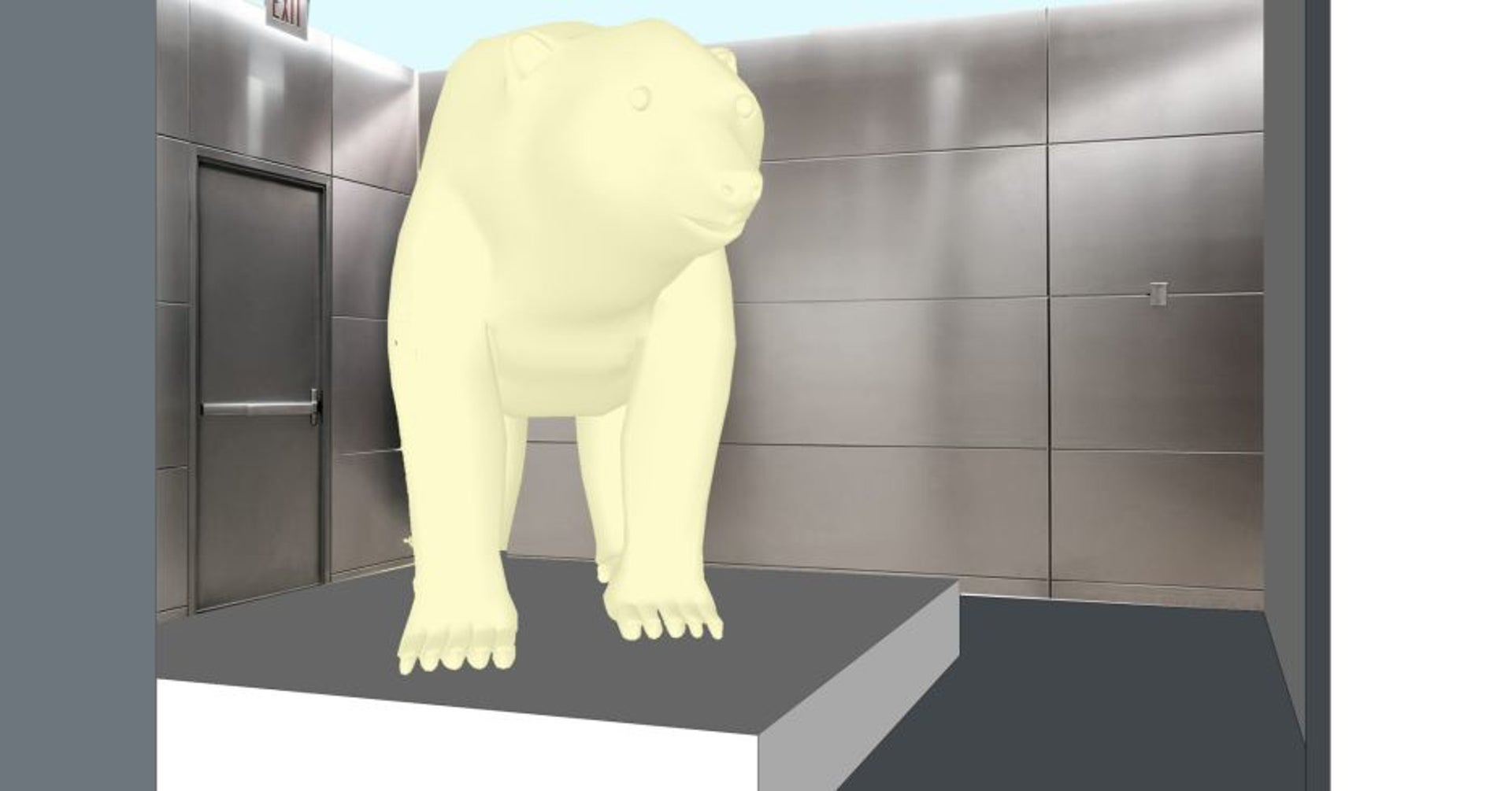 """A drawing from Maayan Strauss' planned """"polar bear"""" art project."""