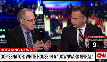 A screenshot of Alan Dershowitz on CNN on Monday, May 16, 2017