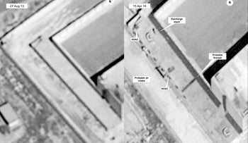 This image provided by the State Department and DigitalGlobe, taken Aug. 27, 2013, left, and April 16, 2015, satellite images of what the State Department described as a building in a prison complex in Syria that was modified to support a crematorium.