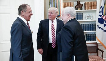 U.S. President Donald J. Trump (C) speaking with Russian Foreign Minister Sergey Lavrov (L) and Russian Ambassador to the U.S. Sergey Kislyak during a meeting at the White House in Washington, D.C., May 10, 2017.