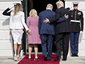 U.S. President Donald Trump, from right, Benjamin Netanyahu, Israel's prime minister, and their wives Sara Netanyahu and Melania Trump walk into the White House in Washington, D.C., U.S., on Wednesday, Feb. 15, 2017.