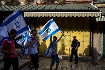 """The """"flag march"""" in east Jerusalem on May 6, 2016."""
