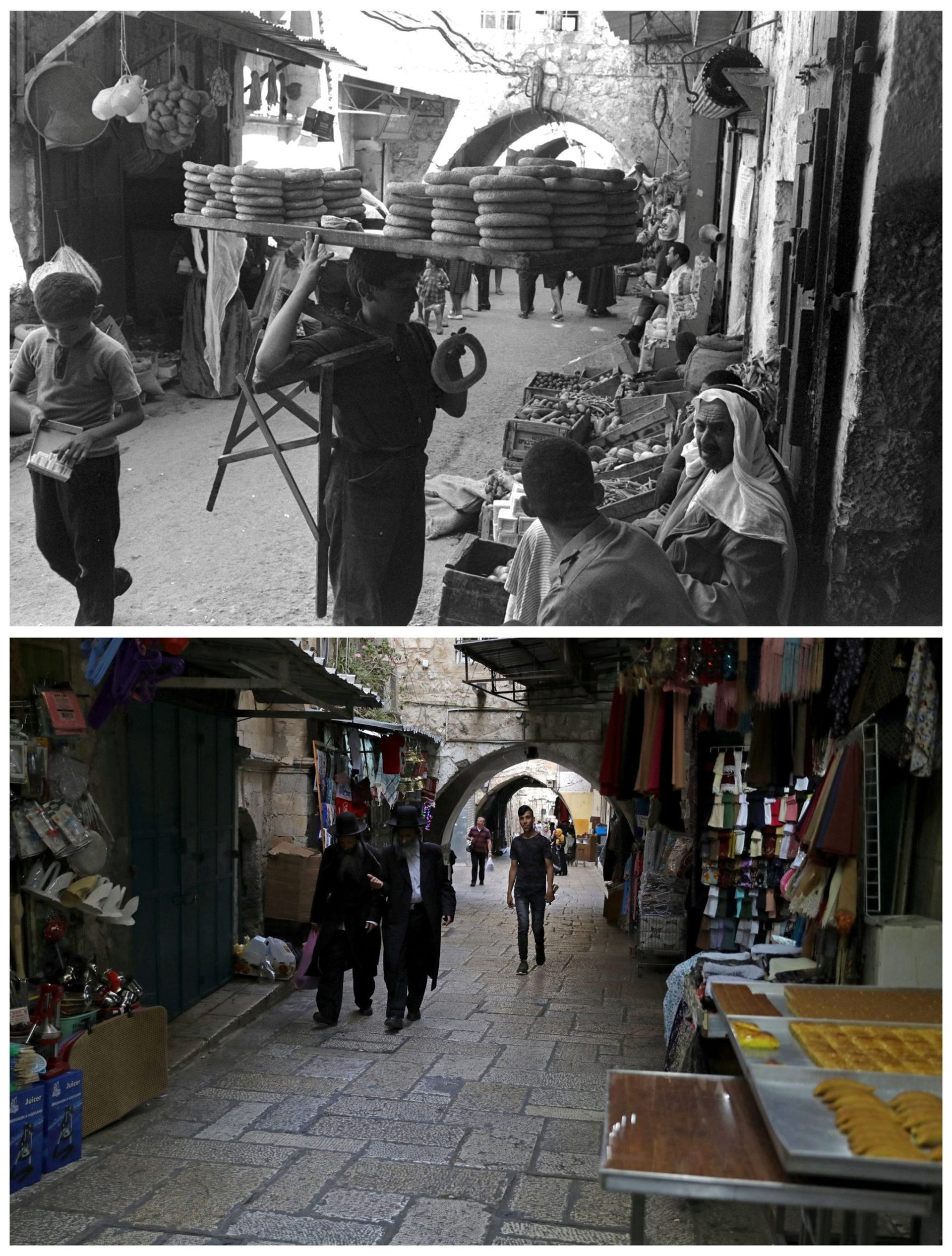 "A combination picture shows a boy selling bagels in an alley of Jerusalem's Old City, in this Government Press Office handout photo, taken July 14, 1967 (top) and the same location May 17, 2017. REUTERS/Fritz Cohen/Government Press Office/Handout via Reuters (top)/Ammar Awad THIS PICTURE WAS PROVIDED BY A THIRD PARTY. REUTERS IS UNABLE TO INDEPENDENTLY VERIFY THE AUTHENTICITY, CONTENT, LOCATION OR DATE OF THIS IMAGE. FOR EDITORIAL USE ONLY. NOT FOR SALE FOR MARKETING OR ADVERTISING CAMPAIGNS. SEARCH ""1967 WAR"" FOR THIS STORY. SEARCH ""WIDER IMAGE"" FOR ALL STORIES."