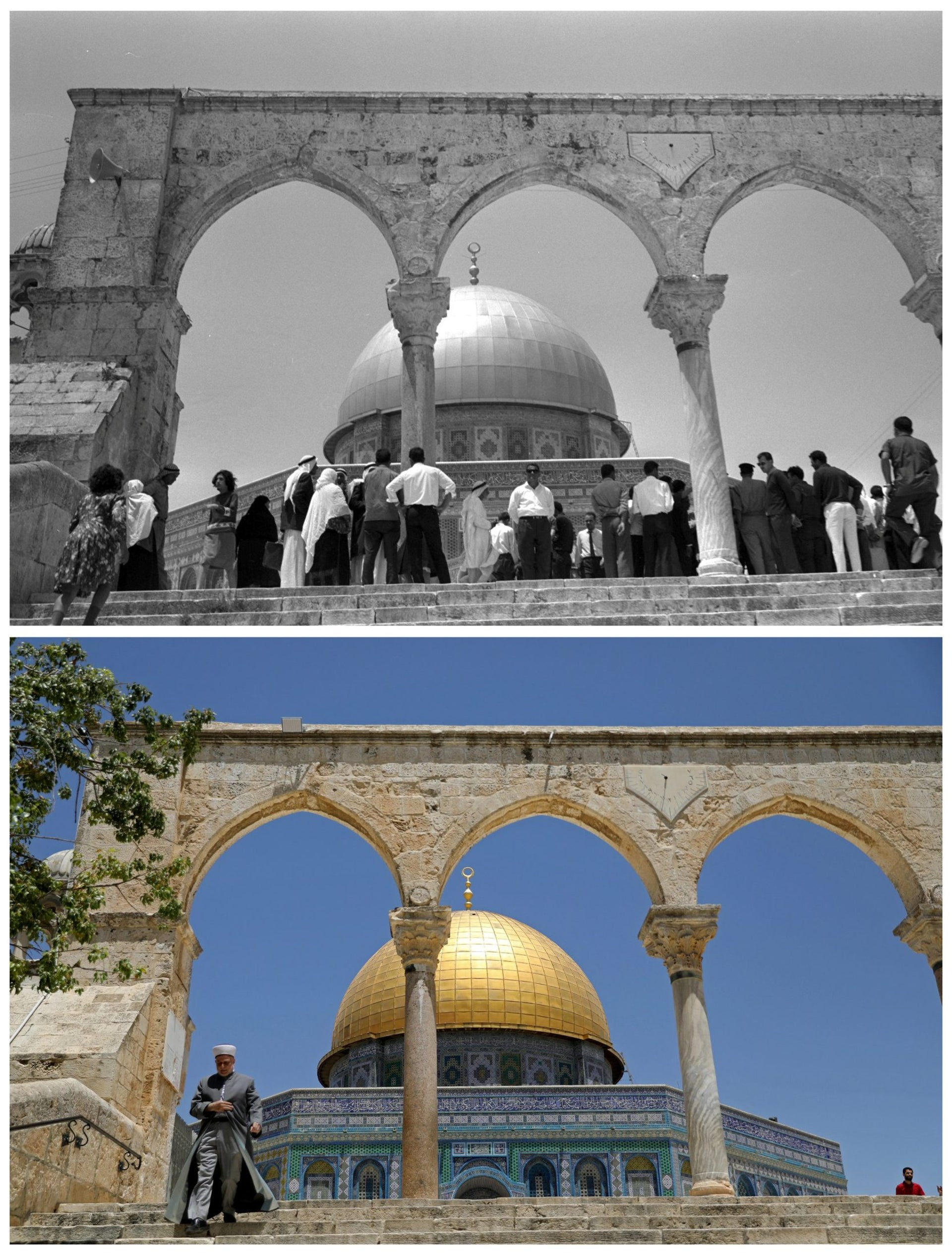 "A combination picture shows Palestinians standing in front of the Dome of the Rock on the compound known to Muslims as Noble Sanctuary and to Jews as Temple Mount, in Jerusalem's Old City, in this Government Press Office handout photo, taken June 23, 1967 (top) and the same location May 17, 2017. REUTERS/Moshe Pridan/Government Press Office/Handout via Reuters (top)/Ammar Awad THIS PICTURE WAS PROVIDED BY A THIRD PARTY. REUTERS IS UNABLE TO INDEPENDENTLY VERIFY THE AUTHENTICITY, CONTENT, LOCATION OR DATE OF THIS IMAGE. FOR EDITORIAL USE ONLY. NOT FOR SALE FOR MARKETING OR ADVERTISING CAMPAIGNS. SEARCH ""1967 WAR"" FOR THIS STORY. SEARCH ""WIDER IMAGE"" FOR ALL STORIES."