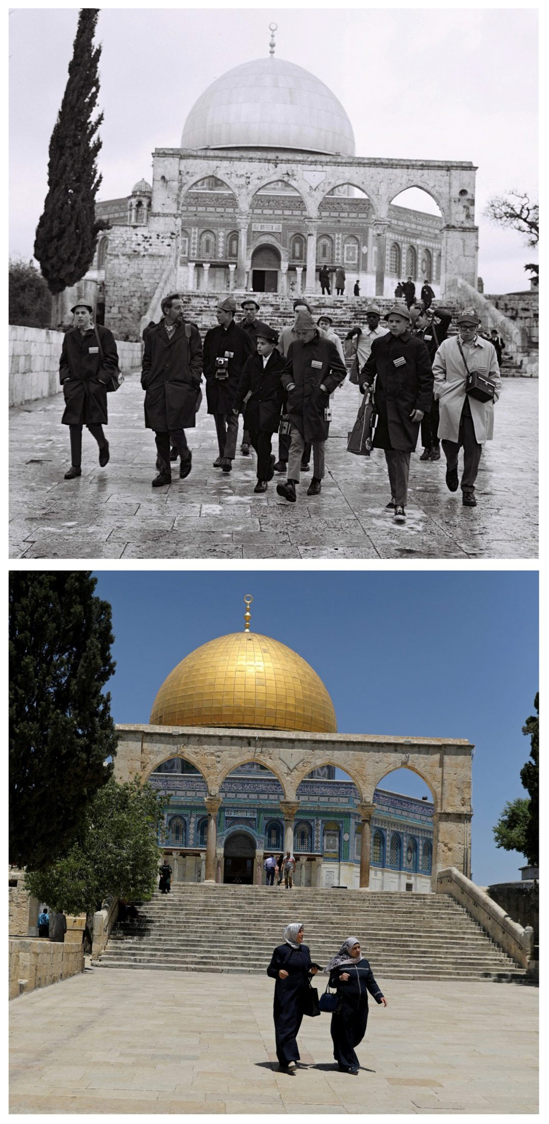 "A combination picture shows the Hearst Junior Diplomats walking in front of the Dome of the Rock on the compound known to Muslims as Noble Sanctuary and to Jews as Temple Mount, in Jerusalem's Old City, in this Government Press Office handout photo, taken December 24, 1967 (top) and Palestinians walking in the same location May 17, 2017. REUTERS/Moshe Milner/Government Press Office/Handout via Reuters (top)/Ammar Awad THIS PICTURE WAS PROVIDED BY A THIRD PARTY. REUTERS IS UNABLE TO INDEPENDENTLY VERIFY THE AUTHENTICITY, CONTENT, LOCATION OR DATE OF THIS IMAGE. FOR EDITORIAL USE ONLY. NOT FOR SALE FOR MARKETING OR ADVERTISING CAMPAIGNS. SEARCH ""1967 WAR"" FOR THIS STORY. SEARCH ""WIDER IMAGE"" FOR ALL STORIES."