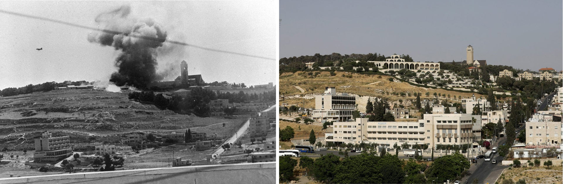"A combination picture shows Arab legion positions seen under fire to clear way for Israeli units to takeover the hills surrounding the Jerusalem's Old City during the 1967 Middle East War, in this Government Press Office handout photo, taken June 6, 1967 (top) and the view of the East Jerusalem neighbourhood of Wadi al-Joz in the foreground and Mount of Olives in the background May 14, 2017. REUTERS/Government Press Office/Handout via Reuters (top)/Ronen Zvulun THIS PICTURE WAS PROVIDED BY A THIRD PARTY. REUTERS IS UNABLE TO INDEPENDENTLY VERIFY THE AUTHENTICITY, CONTENT, LOCATION OR DATE OF THIS IMAGE. FOR EDITORIAL USE ONLY. NOT FOR SALE FOR MARKETING OR ADVERTISING CAMPAIGNS. SEARCH ""1967 WAR"" FOR THIS STORY. SEARCH ""WIDER IMAGE"" FOR ALL STORIES."