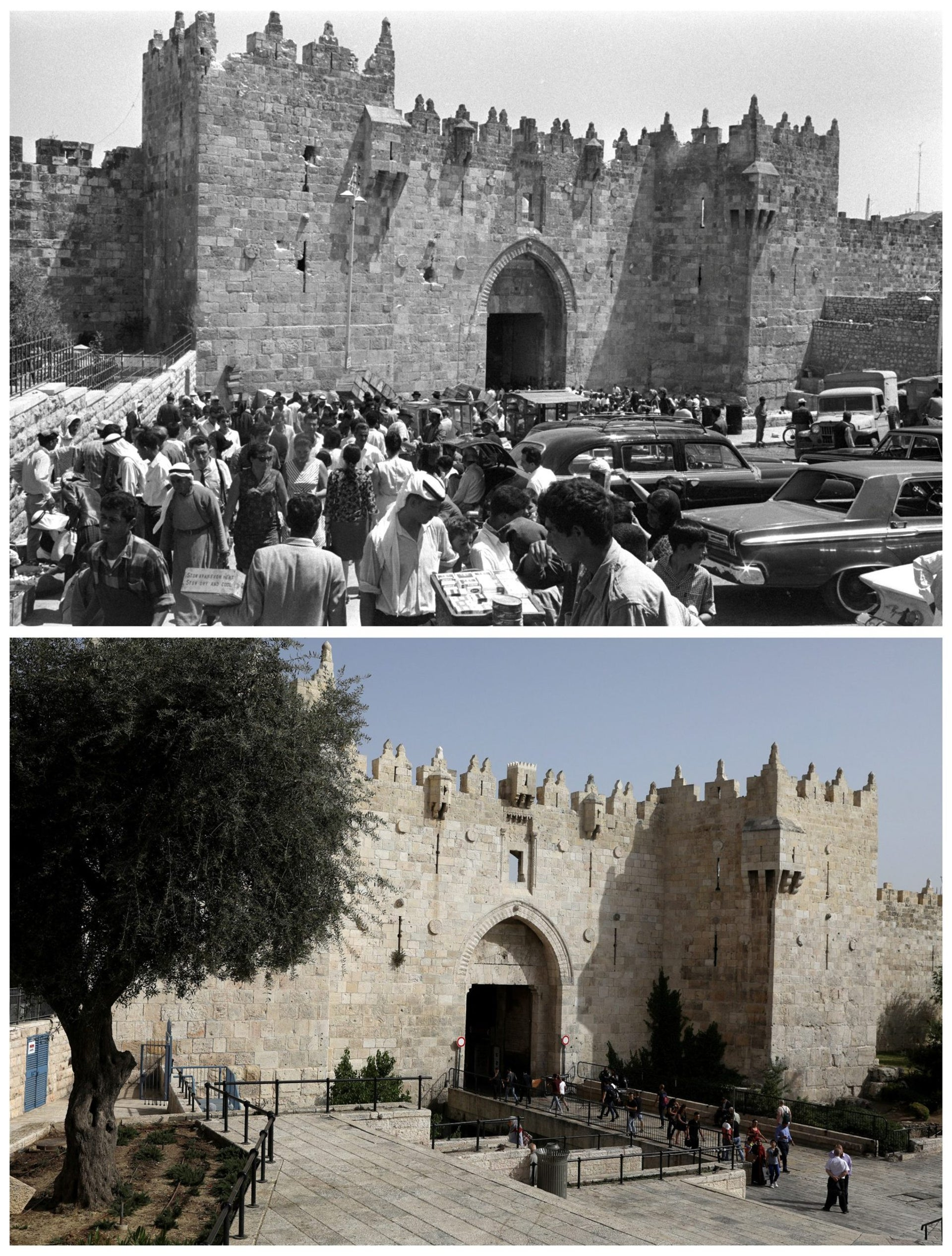 "A combination picture shows people walking near Damascus Gate leading into Jerusalem's Old City in this Government Press Office handout photo, taken July 14, 1967 (top) and the same location May 14, 2017. REUTERS/Fritz Cohen/Government Press Office/Handout via Reuters (top)/Ronen Zvulun THIS PICTURE WAS PROVIDED BY A THIRD PARTY. REUTERS IS UNABLE TO INDEPENDENTLY VERIFY THE AUTHENTICITY, CONTENT, LOCATION OR DATE OF THIS IMAGE. FOR EDITORIAL USE ONLY. NOT FOR SALE FOR MARKETING OR ADVERTISING CAMPAIGNS. SEARCH ""1967 WAR"" FOR THIS STORY. SEARCH ""WIDER IMAGE"" FOR ALL STORIES."
