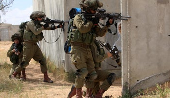 Troops train at the Tze'elim base in the Negev in southern Israel.