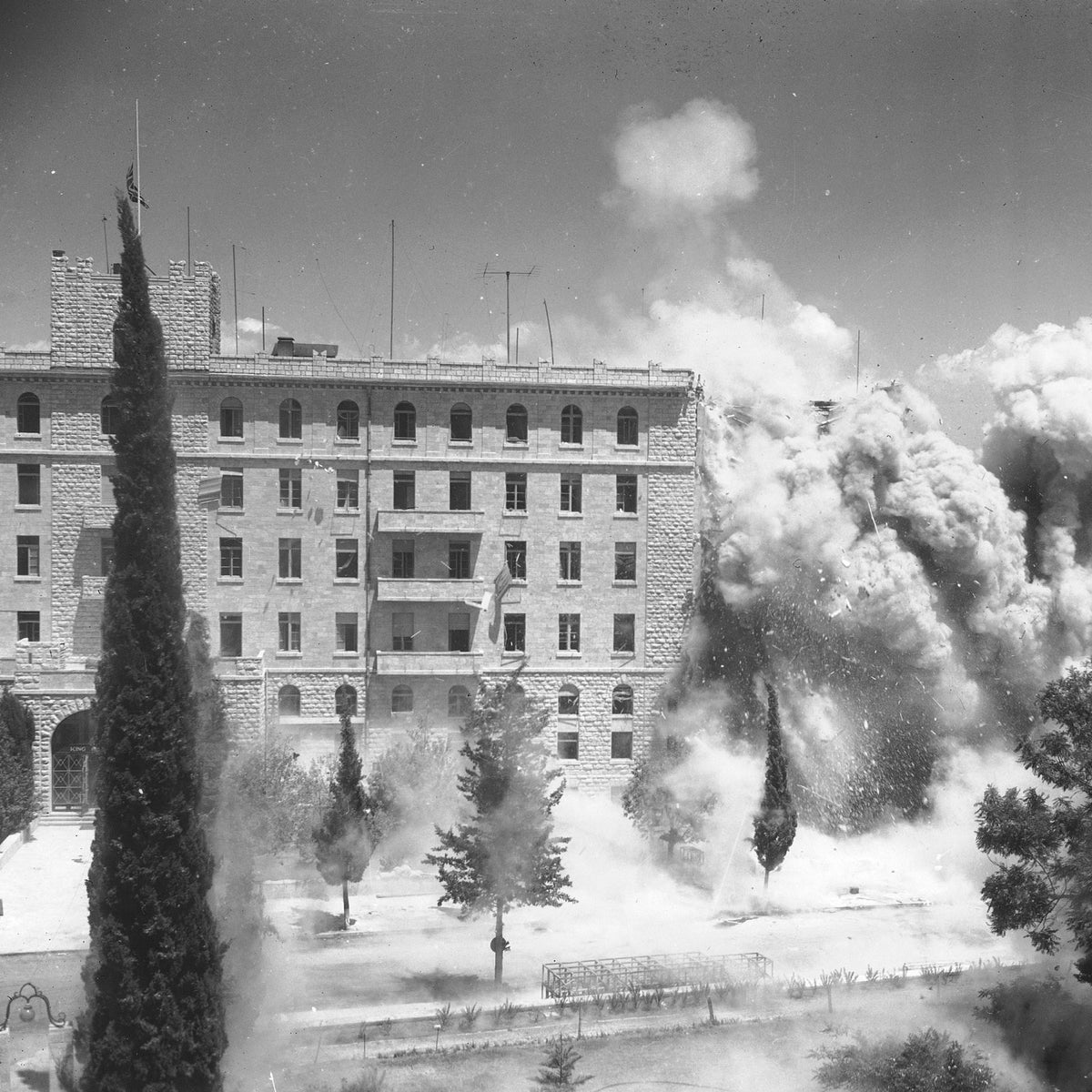 Demolition work being done on the King David Hotel in August, 1946 by sappers, one week after the actual explosion.