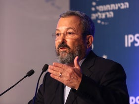 Ehud Barak speaking at the Herzliya Conference, June 16, 2016.