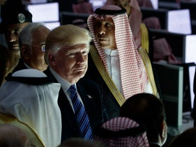President Donald Trump listens during a ceremony to mark the opening of the Global Center for Combatting Extremist Ideology, Sunday, May 21, 2017, in Riyadh.