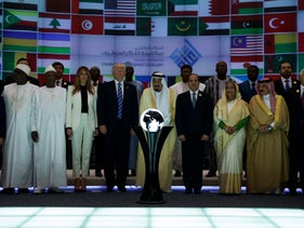 U.S. President Donald Trump and Saudi Arabia's King Salman pose for photos at the Global Center for Combatting Extremist Ideology in Riyadh, May 21, 2017.