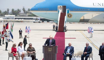 US President Donald Trump speaks during welcome ceremony in Tel Aviv, Monday, May 22,2017. Seated from the right, Sara Netanyahu, U.S. First Lady Melania Trump, Israel's First Lady Nechama Rivlin, Israel's President Rueben Rivlin and Prime Minister Benjamin Netanyahu.