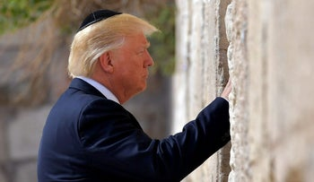 Trump visits the Western Wall in Jerusalem's Old City on May 22, 2017.