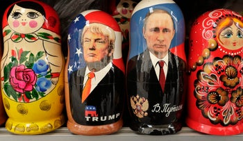 Russian nesting dolls depict U.S. President Donald Trump next to Russian President Vladimir Putin in a souvenir street shop in Saint Petersburg, Russia, February 2017.