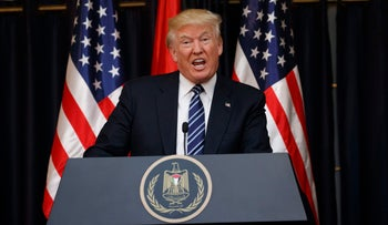 U.S. President Donald Trump delivers a statement on the attack in Manchester after a meeting with Palestinian President Mahmoud Abbas, Bethlehem, West Bank, May 23, 2017.