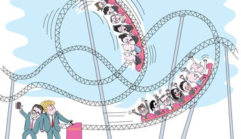 Trump takes Netanyahu and the ministers on a wild roller-coaster ride (illustration).
