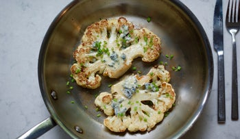 Great for Shavuot: Cauliflower steaks with gorgonzola dolce.