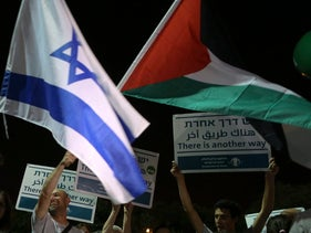 """A mass demonstration in Tel Aviv against 50 years of occupation entitled """"Two States - One Hope"""". May 27, 2017"""