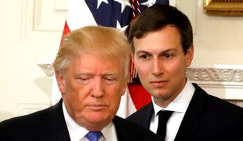 File photo: Jared Kushner, senior advisor to U.S. President Donald Trump, arrives with Trump for a meeting at the White House in Washington on February 23, 2017.