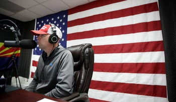 "Shawn Moran, a National Border Patrol Council vice president, speaks on air as part of ""The Green Line,"" a weekly radio show by the U.S. Border Patrol agents' union that is sponsored by the conservative Breitbart News, in Solana Beach, California, February 21, 2017."