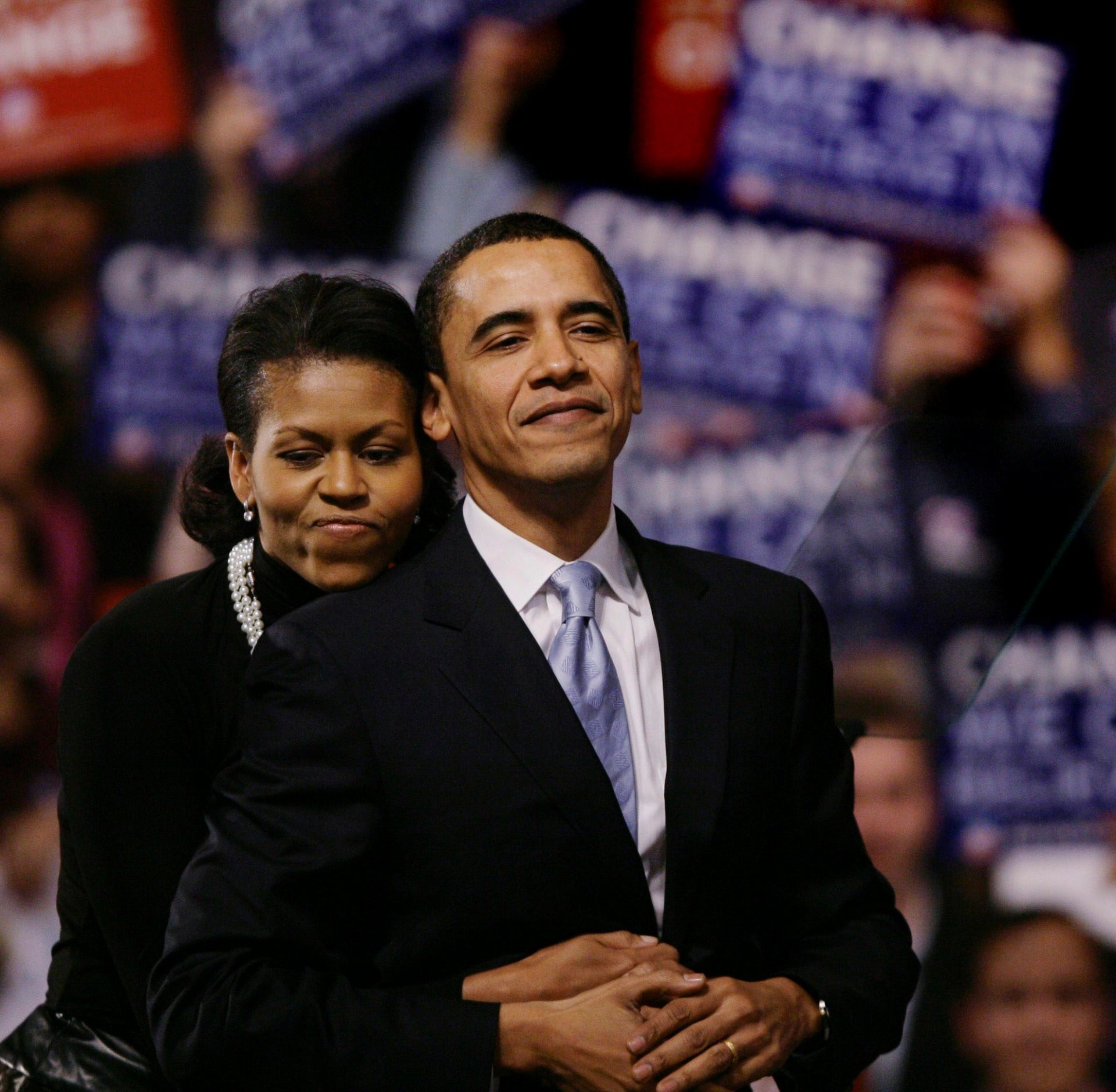 Barack Obama and wife Michelle at at his election night New Hampshire presidential primary rally in January 2008.