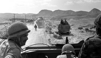 Israeli troops advancing through Sinai during the Six-Day War in June 1967.