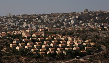 The West Bank Jewish settlement of Ofra is photographed as seen from the Jewish settler outpost of Amona in the occupied West Bank, October 20, 2016.