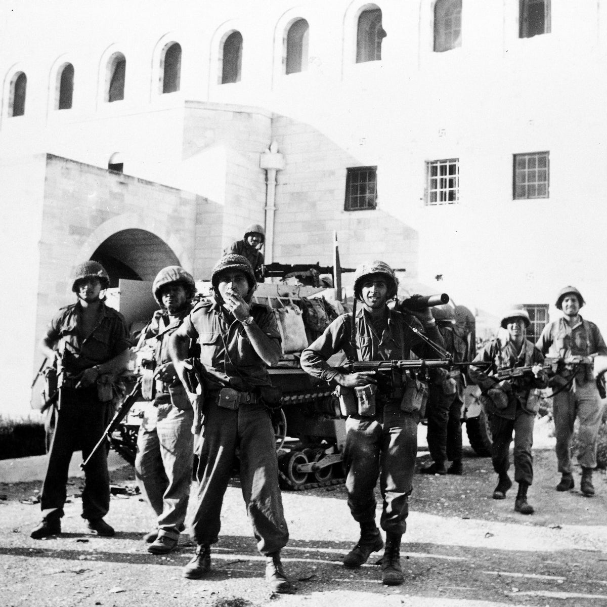 Israeli troops at Government House in the Old City of Jerusalem after taking over the Jordan-held part of the city following heavy fighting, June 6, 1967.