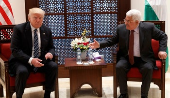 President Donald Trump meets with Palestinian President Mahmoud Abbas, Tuesday, May 23, 2017