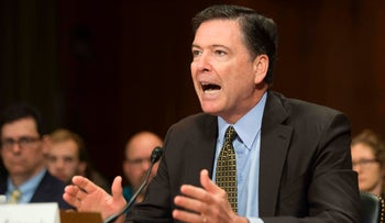 Then FBI Director James Comey testifying before the Senate Judiciary Committee on Capitol Hill in Washington, DC,. May 3, 2017.