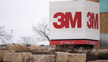 Signage stands outside 3M Co. headquarters in St. Paul, Minnesota