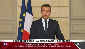 France's Emmanuel Macron criticizing Donald Trump's withdrawal from the Paris climate accord, June 1, 2017.