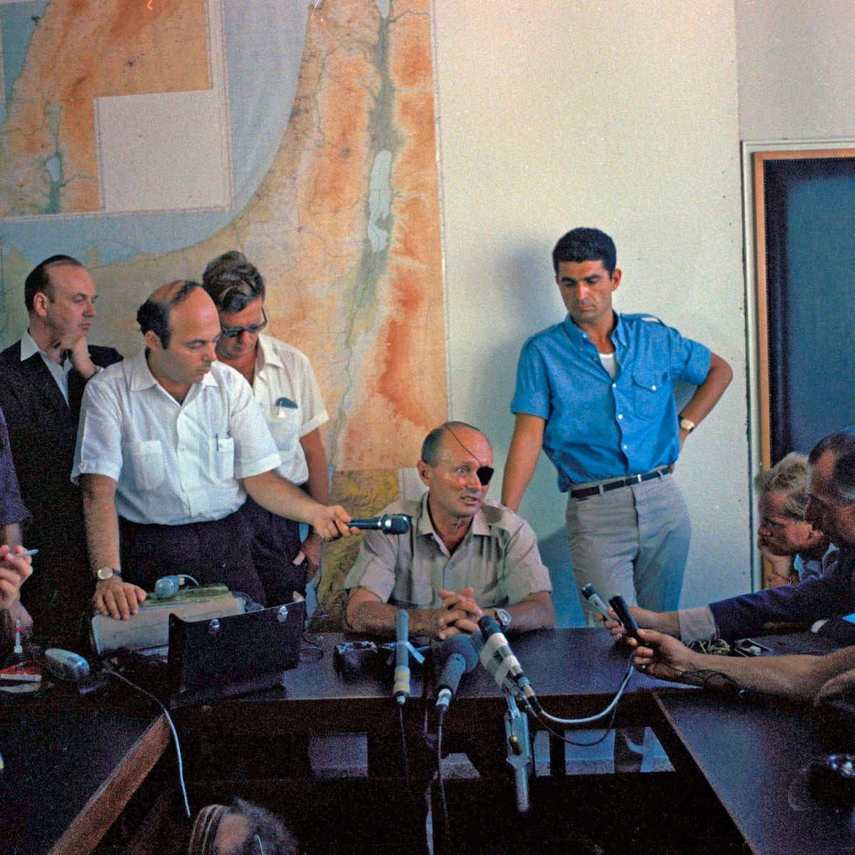 Six-Day War: Israeli Defense Minister Moshe Dayan speaking at a news conference at an unknown location, July 15, 1967.