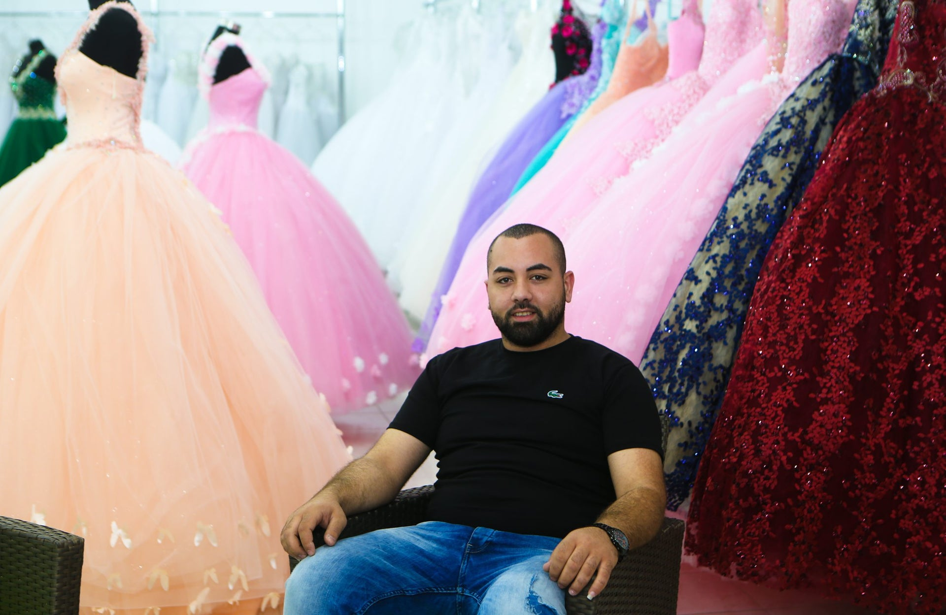 Shadi Hamdan at his family's gown and lingerie shop in eastern Barta'a, June 2017.