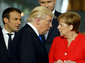Emmanuel Macron, Donald Trump and Angela Merkel at NATO headquarters in Brussels, Belgium, May 25, 2017.