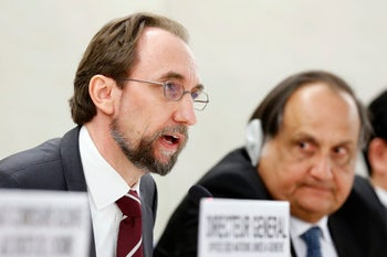 Zeid Ra'ad Al Hussein, UN High Commissioner for Human Rights, speaks about the current humanitarian situation in the world, during the opening of the 35th session of the Human Rights Council, at the European headquarters of the United Nations in Geneva, Switzerland, Tuesday, June 6, 2017.