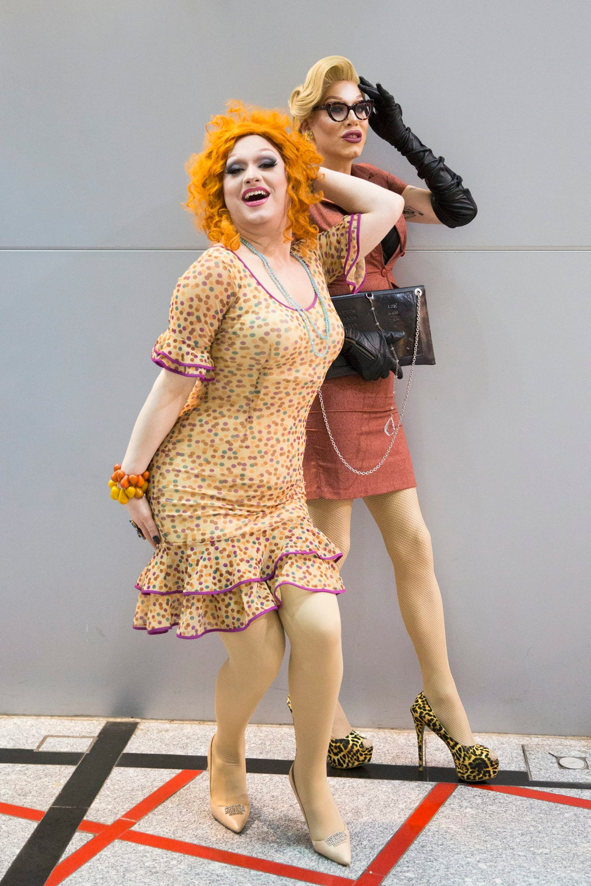 Jinkx Monsoon (in front) and Sharon Needles in Tel Aviv.