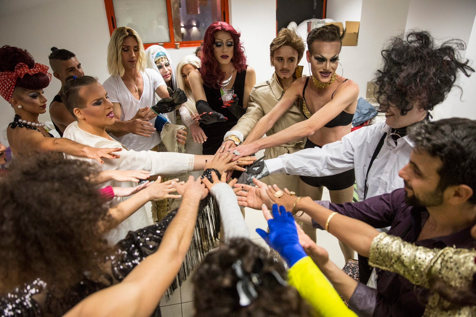 Contenders and hosts of Tel Aviv's drag competition, just before the start of the show.