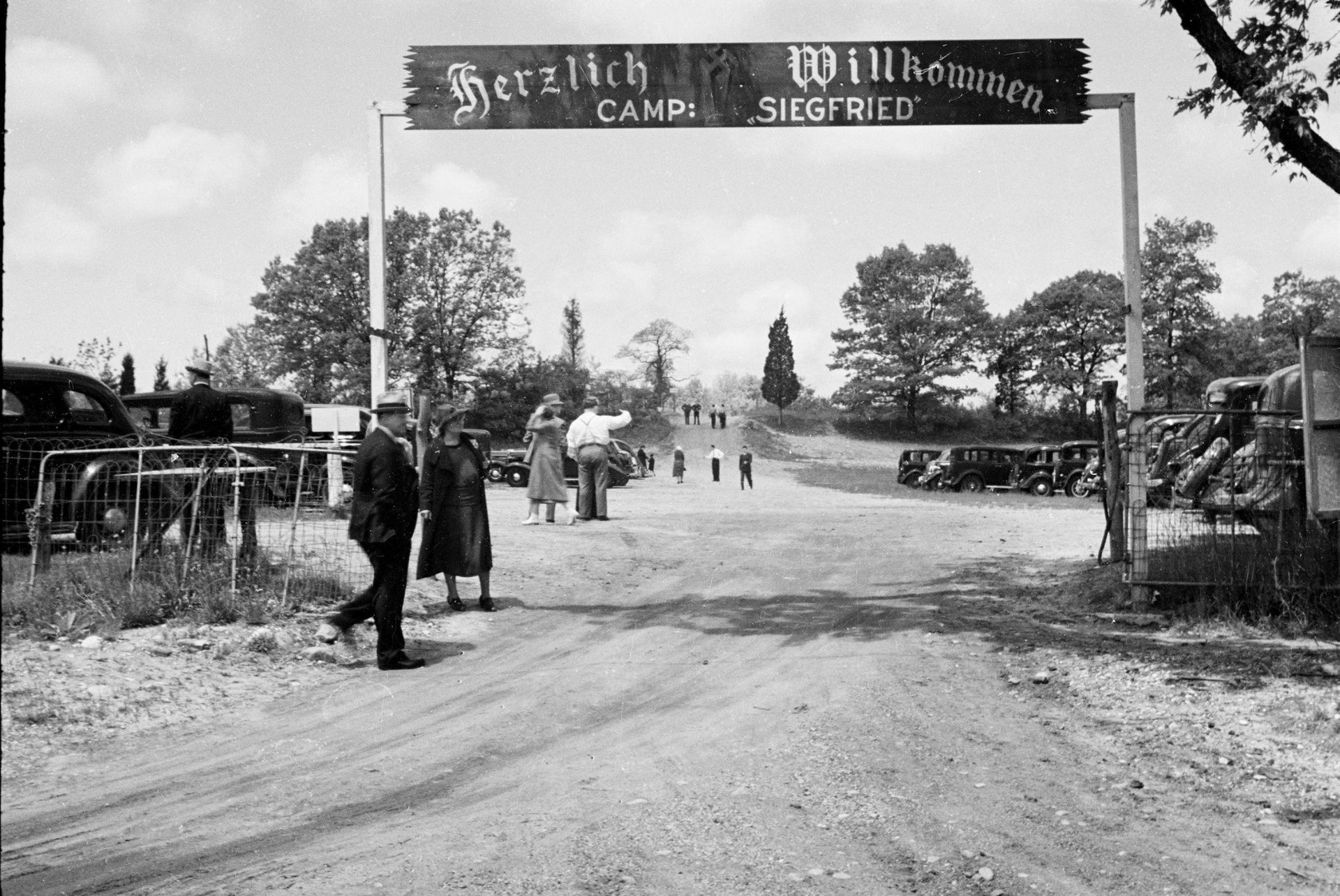 In this May 22, 1938 photo provided by the New York City Municipal Archives the front gate of Camp Siegfried in Yaphank, N.Y.